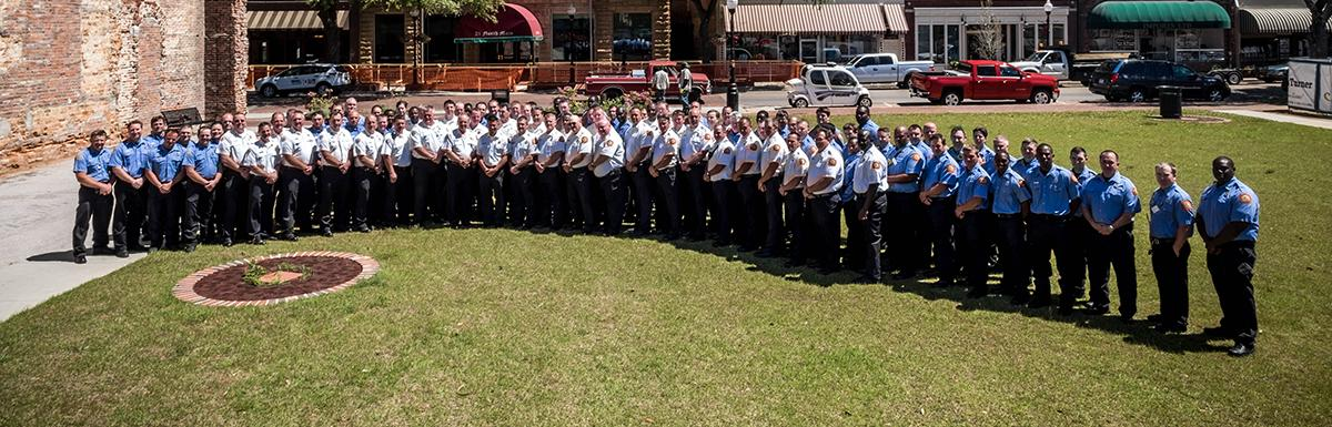 Fire Department Staff Poses for a Group Photo in Downtown Sumter
