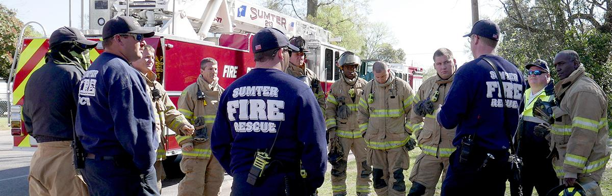 Group of Fire Department Trainees Meet Before Training