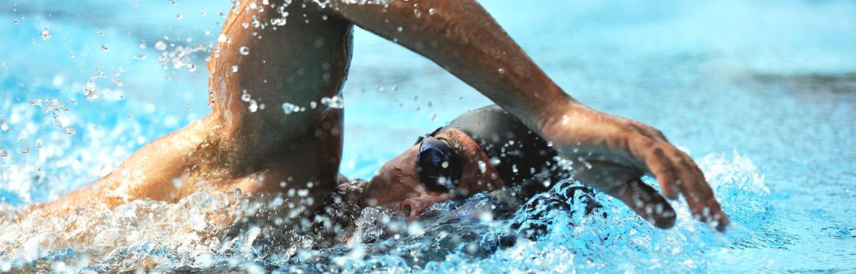 Closeup of Swimmer Mid-Stroke