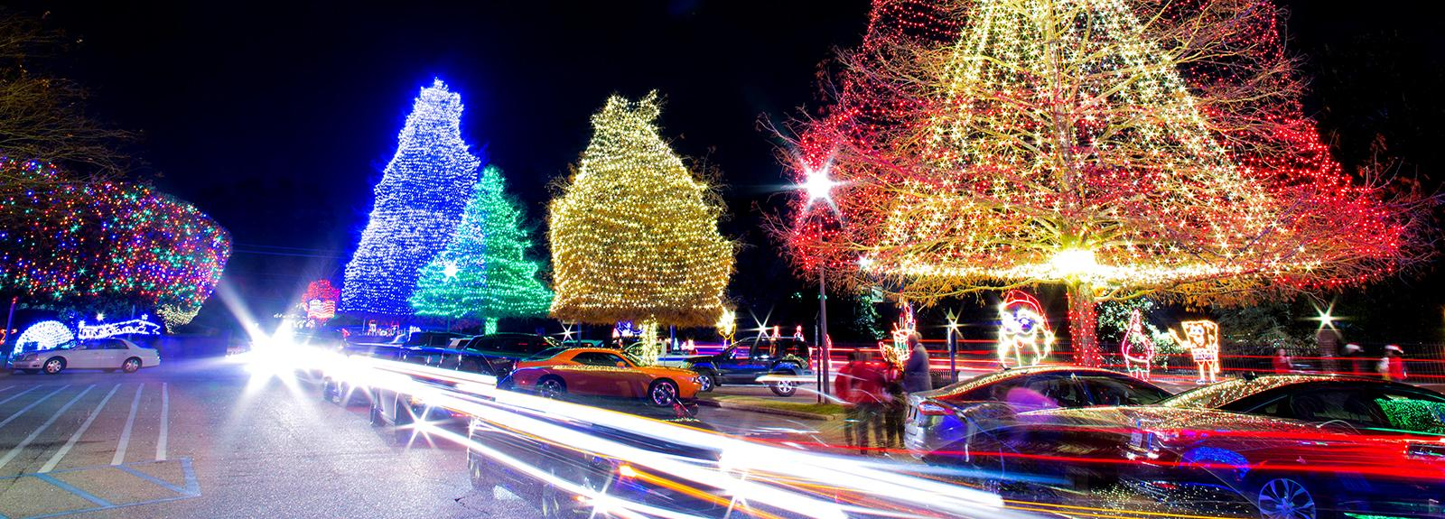 Cars Move Through Swan Lake Parking Lot as Lights Twinkle in the Trees Above