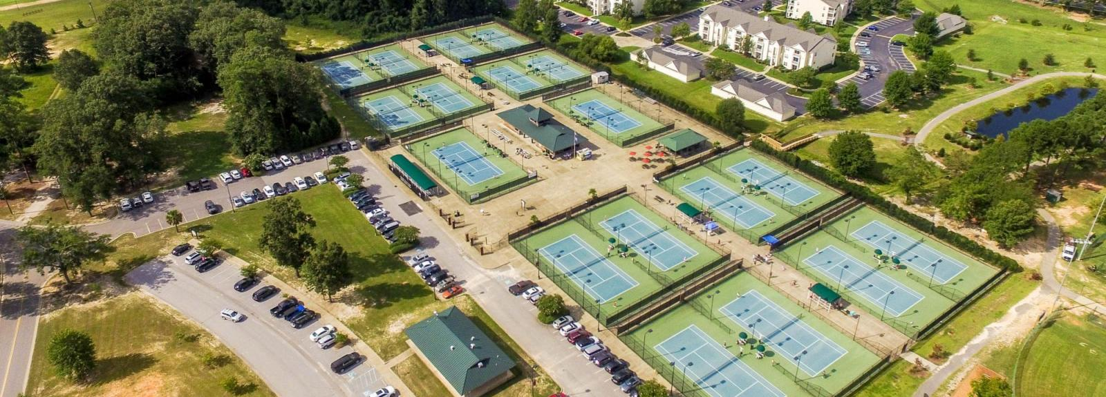 Aerial View of Palmetto Tennis Center and Neighboring Apartments