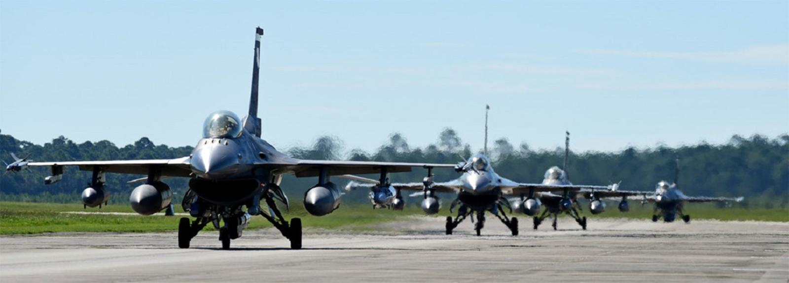 Fighter jets line up at Tyndall Air Force Base in Florida