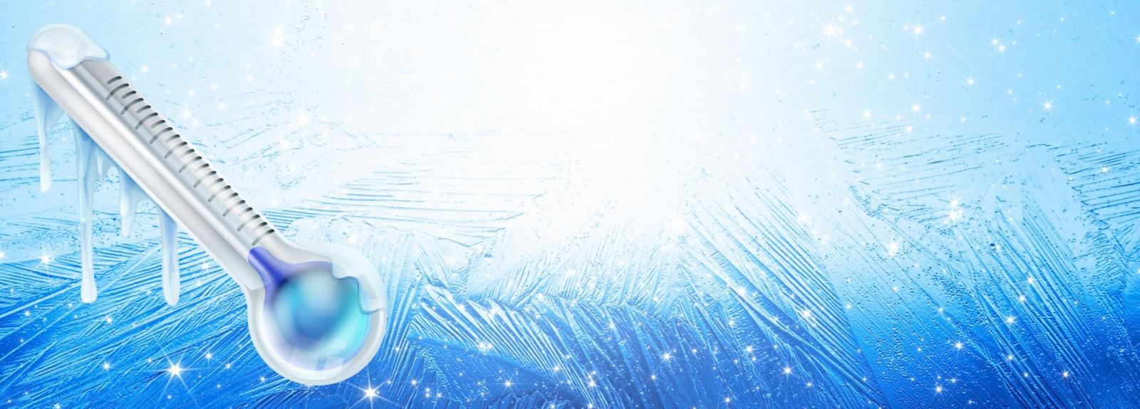 Icy Thermometer on Icy Background