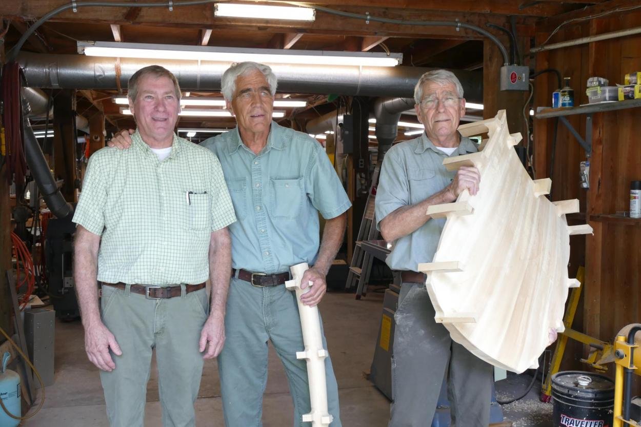 Grainger McKoy (middle) poses with the Beatty Brothers of Sumter SC, who assisted him with the model design.