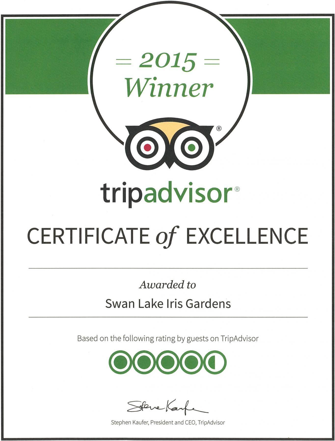 Swan Lake Wins Certificate of Excellence from Trip Advisor, 2015